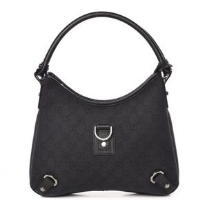 GUCCI Denim Monogram Abbey D Ring Hobo Black